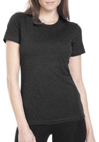Next Level Apparel Women's CVC Crewneck T-Shirt, Black, (Fitted Crew Shirt)