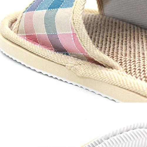 Femmes Summer Flax Sandales Plancher Café Rayées Carreaux Intérieur Maison 44 Chaussures Hommes Lin Landum Pantoufles À De 45 dxPwWOq