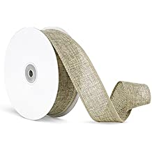 Craft Faux Burlap Jute Wired Ribbon, 1.5 Inches by 25 Yards - Natural