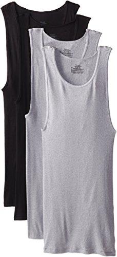 Tip T-shirt Top - Hanes ComfortSoft Dyed 4 tanks(XX-Large/Black & Grey)