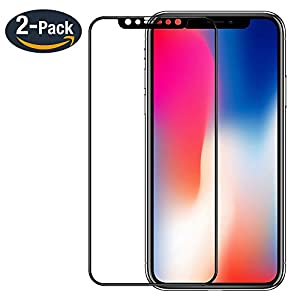 iPhone X Screen Protector, Tempered Glass Screen Protector Film Edge to Edge Protection Screen Cover for iPhone X (2-Pack, Black) by ALLEASA