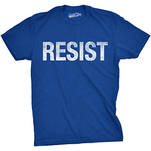 Crazy Dog TShirts - Mens Resist T Shirt United States of America Protest Rebel Political Tee For Guys (Blue) - S - herren - S