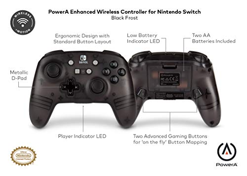 PowerA Enhanced Wireless Controller for Nintendo Switch - Black Frost 5