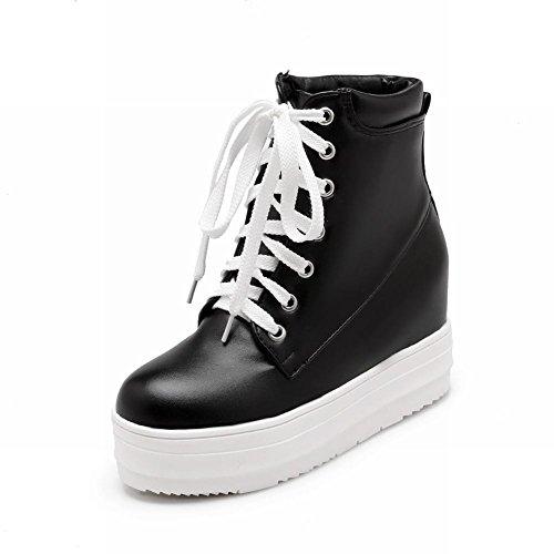 Beugel Dames Lace Up Bezaaid Schattige Populaire Klinknagel Comfort Platform Sleehak Mode Sneakers Zwart