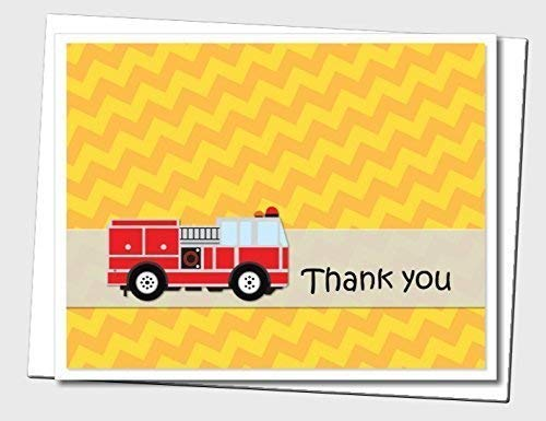 Red Yellow Firetruck, Fire Truck, Fire Engine Thank You Cards - Optional Personalized Birthday Party Decorations Banner, Invitations, Sign, Favor Tags, Thank You Cards - Handmade in USA - BCPCustom ()