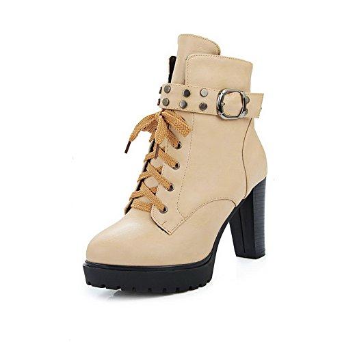 Ladola Girls Bandage Buckle Platform Apricot Imitated Leather Boots - 6.5 B(M) - Platform Spice Girl Boots