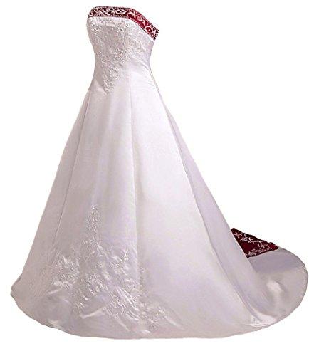 Vantexi Women's Strapless A-line Wedding Dress Bridal Gown Ivory & Burgundy 2