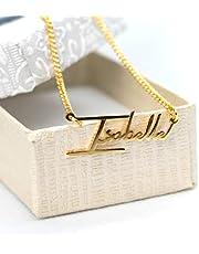 Collar con nombre personalizado, hecho a mano en acero inoxidable o plata .925, Opcional baño de oro 18K u baño de oro rosado