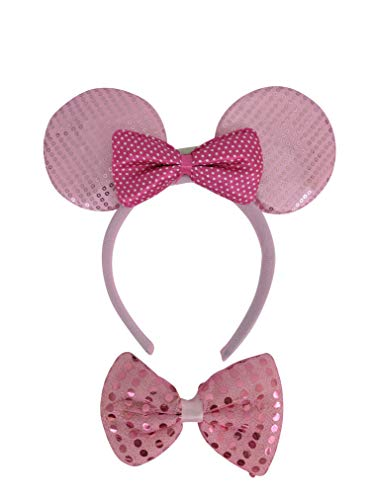 The Electric Mammoth Light Up LED Flashing Minnie Mouse Ears Headband & Bow Tie Combo (Light Pink) -