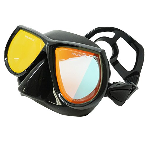 Palantic Spearfishing Free Dive Low Volume Black Mask With Mirror Coated Lenses - Low Volume Mask
