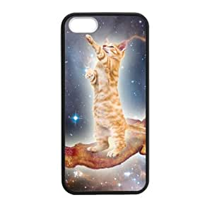 Bacon Cat in Space Pattern iPhone 5 5S Case Covers Anti-Scratch Extreme Protection Compatible with iPhone 5 5S TPU(Laser Technology)