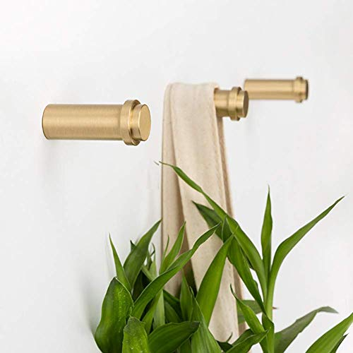 Brass Round Coat Hook-Gold Brass Standing Towel Rack Key Holder for Wall Brass Wood Key Rack Gold Towel Hook Metal Bathroom Hooks-M,2 Pack