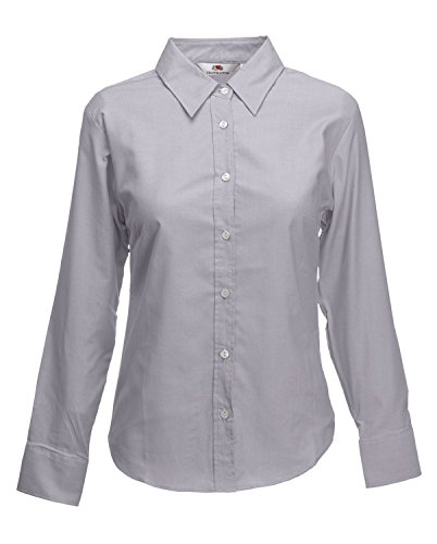 Fruit of the Loom - Camisas - Manga Larga - para mujer Grey - Oxford grey