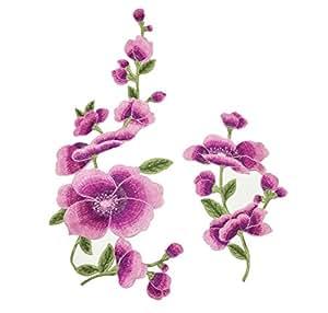 Da.Wa Parche de flor de loto bordado coser o planchar en la bolsa de la ropa, parches de tela, apliques DIY adhesivo de costura (morado)