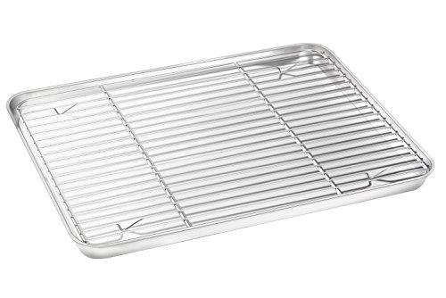 Baking Sheet with Rack Set, E-far Stainless Steel Baking Pan Cookie Pan with Cooling Rack, 16 x 12 x 1 inch, Rust Free & Non Toxic, Mirror Finish & Dishwasher Safe - Round Sheet Set