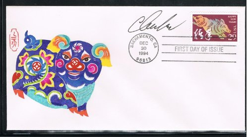 Covers First Day Stamp Collecting (1995 - The 3rd USA Lunar Stamp for The Year of the Boar First Day Cover-Cachet by Handmade Paper-Cut Autographed by Stamp Designer Clarence Lee of Honolulu)