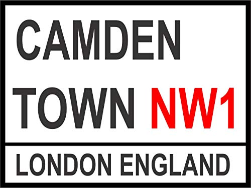 INDIGOS UG - Sticker - Safety - Warning - London Street Sign - Camden Town 300mm x 200mm - Decal for Office - Company - School - Hotel