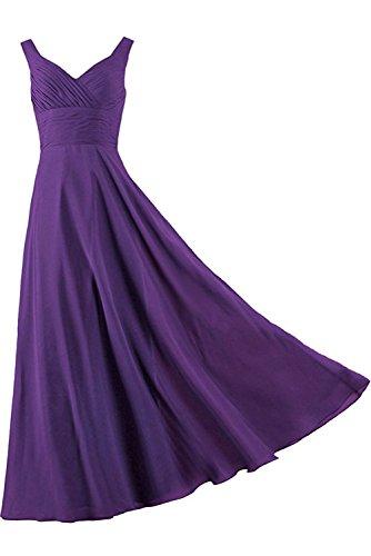 Violett Satin einfach Schnuerung Partykleid aermellos bodenlang Brautfern Abendkleid Traeger Kleid zwei Damen Falte Ivydressing gYOxHH