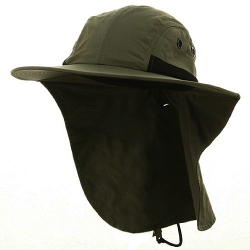 4 Panel Quick Dry Out Moisture Large Bill Flap Hat Sun Cap (Olive ()