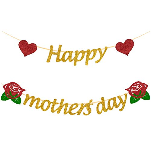 Mity rain Happy Mother's Day Banner - Gold Glitter Banner Mother's Day Party Decoration Photo Backdrop Prop]()