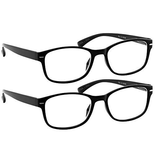 Reading Glasses 2 Pack Black_ Always Have a Timeless Look, Crystal Clear Vision, Comfort Fit with Sure-Flex Spring Hinge Arms & Dura-Tight Screws 100% Guarantee -