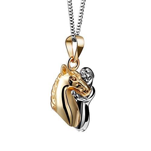 Angemiel 18K Yellow Gold Plated 925 Sterling Silver Quiet Strength Horse & Girl Pendant Necklace (For Women Horse Rings Gold)
