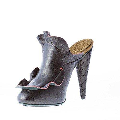 Nero 11 Nero con Fendi in Sabot cm Pelle Tacco Rouches Donna 8x7HqI