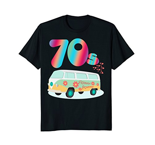 Mens WOMEN CUTE: 70s Hippie Bus Party Shirt Costume Outfit Gift XL Black