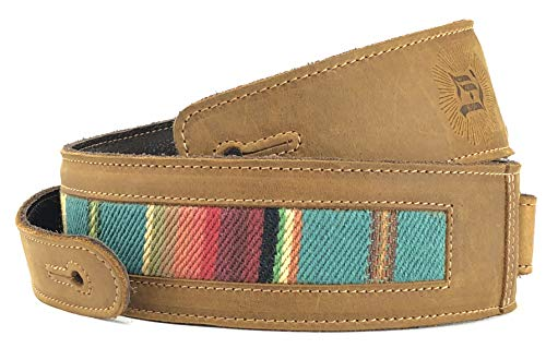 """Southwest Inspired Full Grain Leather Guitar Strap - For Electric, Acoustic, and Bass Guitars - El Camino by Anthology Gear (2"""" Width, Tobacco with Turquoise Fabric) from Anthology Gear"""