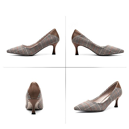 des Sauvage Femmes Profonde Peu La des des Chaussures La DKFJKI Carreaux Brown Talons Mode Hauts Femmes à avec Femmes Bien Pointu Les Bouche taqq1Tw