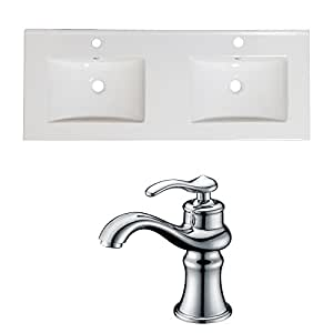 American Imaginations AI-999-15918 Modern White Ceramic Top Set with One Hole CUPC Faucet