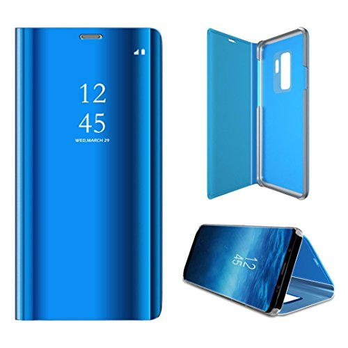 Price comparison product image Goodtrade8 For Galaxy S9 Plus Case Slim Mirror Luxury Smart Sleep Wake UP Leather Flip Stand Protective Phone Full Cover 6.2inch (Blue)