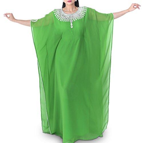 Zahra's Houte Couture Women's Dubai Style Kaftan Caftan Farasha Abaya Evening Maxi Dress (Leaf Green Diamond)