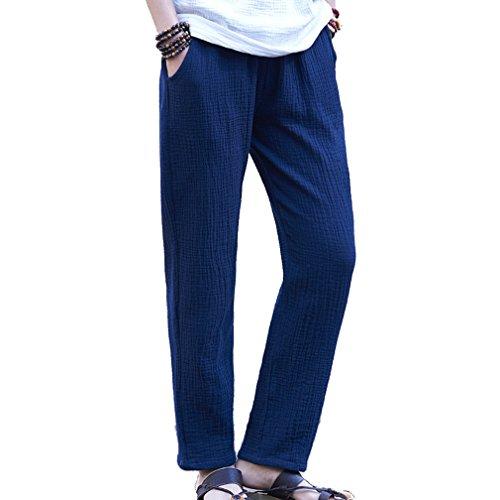 Hibote Pantalones Verano Mujer Cintura Alta Pantalones Lino Con Cordon Pantalones Playa Pantalones Sueltos Color Solido 7 8 Longitud Casual Suave Comodo Ropa Mujer