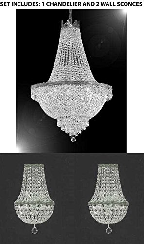 Set of 3 – 1 French Empire Crystal Chandelier Lighting H30″ X W24″ and 2 Empire Crystal Wall Sconce Crystal Lighting W 9.5″ H 18″ D 5″