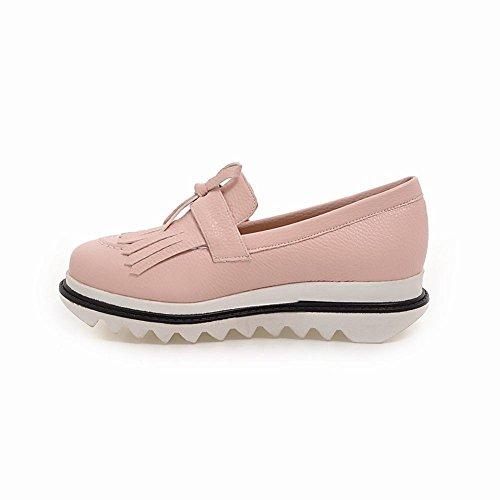 Carolbar Mujeres Fashion Arcos Cute Casual Comfort Zapatos Planos Rosa
