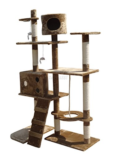 FoxHunter-Deluxe-Multi-Level-Cat-Scratcher-Cat-Tree-Activity-Centre-Scratching-Post-with-2-Caves-and-Toys-and-Sleeping-Area-2299-Brown-Faux-Fur-106cm-x-60cm-x-170cm-Height