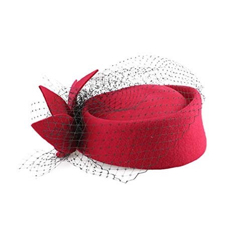 (Women Fascinators Veil Formal Cocktail Race Felt Wool Pill Box Hat Women Tea Party Wedding Caps Rose Red)
