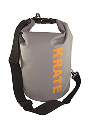 KRATE 5L Waterproof Dry Bag with Roll-Top Closure & Removable / Adjustable Shoulder Strap – Keep Your Gear Dry when Kayaking, Canoeing, Boating, Fishing, Snowboarding, Snorkeling, Rafting
