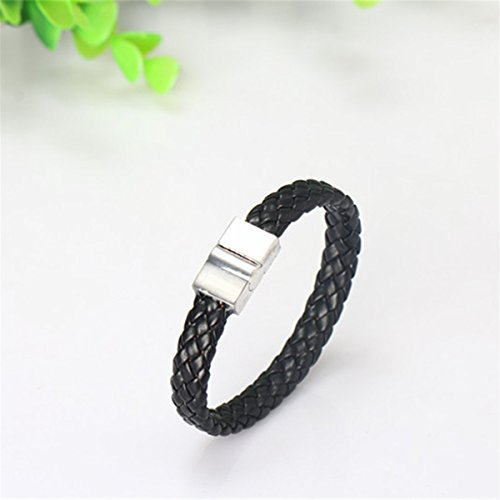 CH Black Vintage Braided Leather Bracelet Men's Bracelets Bangles Jewelry Accesseries Vintage Metal Leather Thong