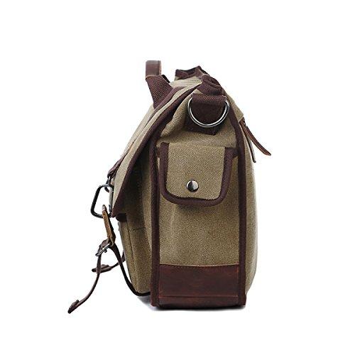 Männer Und Frauen Jahrgang Leinwand Schulter Aktentasche Messenger Tote Arbeiten Outdoor Tasche,Brown-41cm*12cm*30cm
