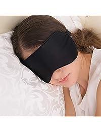 JEFlex JF0007, Antifaz para Dormir, Mascara de Seda Natural para los Ojos con Correa Ajustable, negro