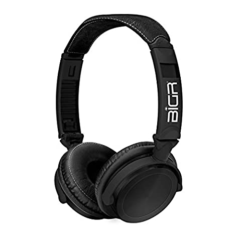 BiGR Audio Metal Over-Ear Headphones with Detachable Cable and Inline Mic, Black (Bigr Audio Cable)