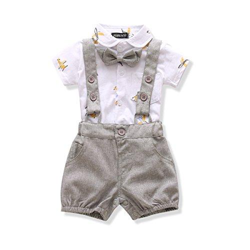 Ferenyi US Baby Boys Bowtie Gentleman Romper Jumpsuit Overalls Rompers (19-24 months, Gray 2)