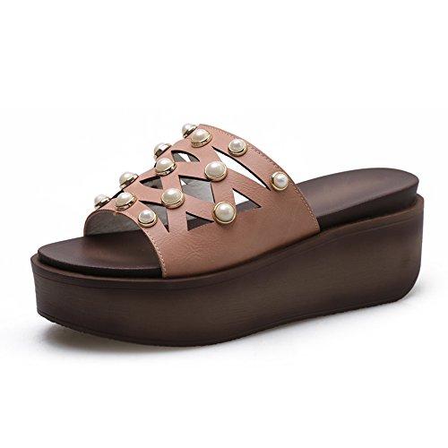 LIXIONG Portátil Sandalias de Mujer Verano Confort PU Casual Talón Cuña Split Mixto Caminar -Zapatos de moda (Color : Marrón, Tamaño : EU39/UK6/CN39) Marrón