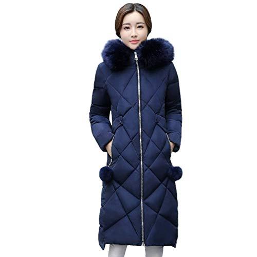Abajo Invierno Oscuro Acolchada Elegante Piel Mujer Manga Cremallera Chaqueta Caliente Moda Sintética De Otoño Azul Relleno Abrigo Largo rwWprnqfT