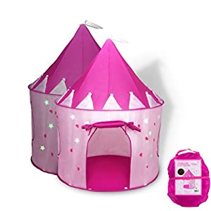 Fox Print Princess Castle Play Tent with Glow in the Dark Stars, conveniently folds in to a Carrying Case, your kids will enjoy this Foldable Pop Up pink play tent/house toy for Indoor & Outdoor Use by FoxPrint