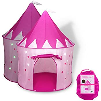 Fox Print Princess Castle Play Tent with Glow in the Dark Stars conveniently folds in to a Carrying Case your kids will enjoy this Foldable Pop Up pink ...  sc 1 st  Amazon.com & Amazon.com: 5-Piece Princess Castle Girls Play Tent w/ Glow in the ...