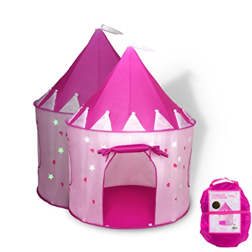 FoxPrint Princess Castle Play Tent with Glow in the Dark Stars, convinientlly folds in to a Carrying Case, your kids will enjoy this Foldable Pop Up pink play tent/house toy for Indoor & Outdoor Use - Kids Play Tent Indoor