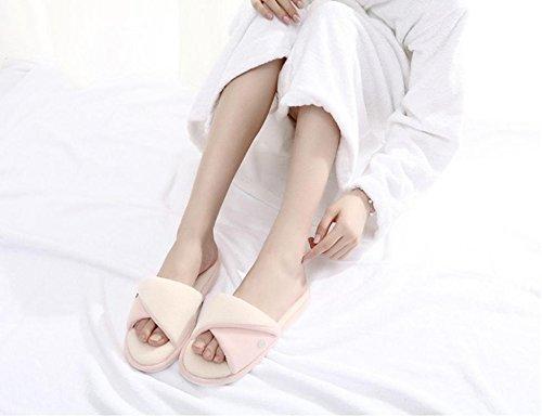 mhgao Ladies Casual zapatillas de algodón zapatillas de casa interior cálido, amarillo, medium rosa